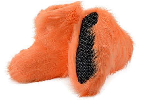 Moro-Design Hüttenschuhe Hausschuhe Yeti Fell Lammfell Schafwolle Pantoffeln Orange Gr.35-42 (37/38)