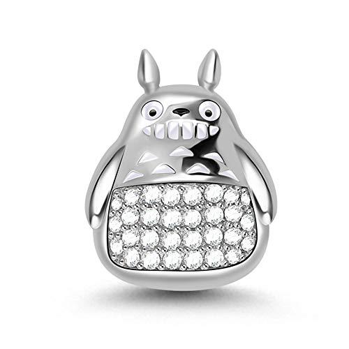 GNOCE Charm Totoro in Agento S925 Prova A Ridere Charm Bead con Zirconi per bracciali e Collana Regalo di Natale per Famiglia Moglie Figlia Amico