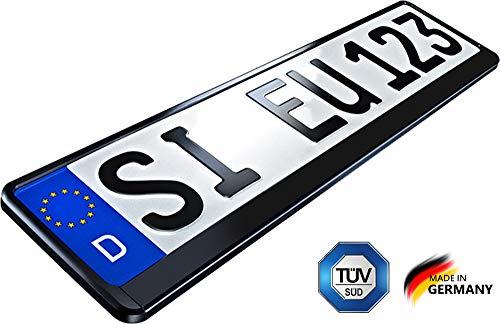 CLEANSIGN® Kennzeichenhalter Schwarz 2er-Set, Nummernschildhalterung Auto, Nummernschildhalter, Kennzeichen halterungen