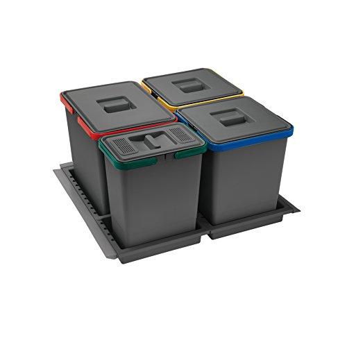Elletipi PTC28 06050 2F Metropolis C10 PPV Pattumiera Differenziata da Cassetto, Grigio, L x P x A: 51 / 53 x 46 / 49 x 28 cm, Capacità interna 15 + 10 + 10 + 6 litri