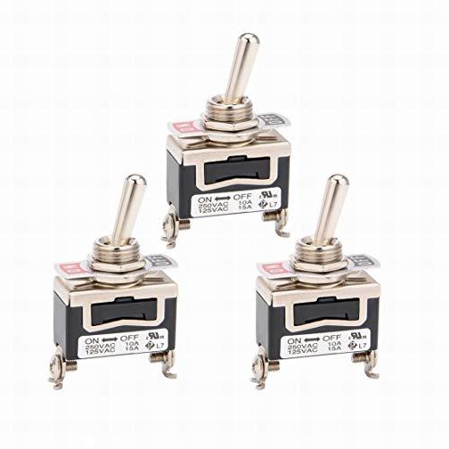 3Pcs AC 125V / 15A 250V / 10A ON-Off 2 posiciones 2 terminales Interruptor de palanca SPST