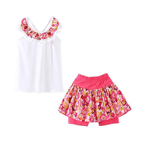 LittleSpring Girls Summer Outfit Floral Tank Top and Short Set White Size 7-8