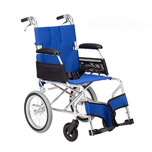 MJY Rollstuhl Klappbarer Leichter Rollstuhl Ultraleichtes kleines Rad Old Man Trolley Aviation Titan Aluminium Rollstuhl, A-Blau