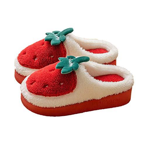 Ling Fengfeiyang Zapatos antideslizantes para el hogar, cómodas y ligeras, pantuflas Inicio antideslizantes de suela gruesa, felpa lindas pantuflas calientes-rojo_38-39