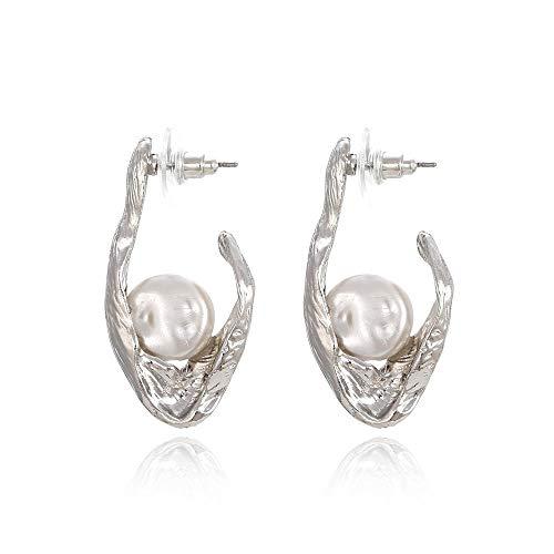 Pendientes de perlas geométricos exagerados pendientes grandes retro moda todo-fósforo pendientes femeninos de otoño e invierno