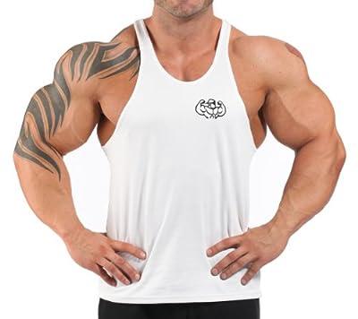 White embroidered T-back bodybuilding vest M