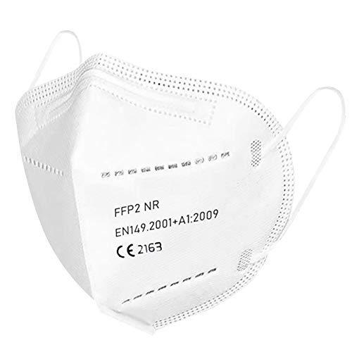 U-Kiss Mascarilla FFP2 50 x mascarilla respiratoria con certificación CE 2163 mascarilla antipolvo de 5 capas mascarilla antipolvo mascarilla (EN149: 2001+ A1: 2009)