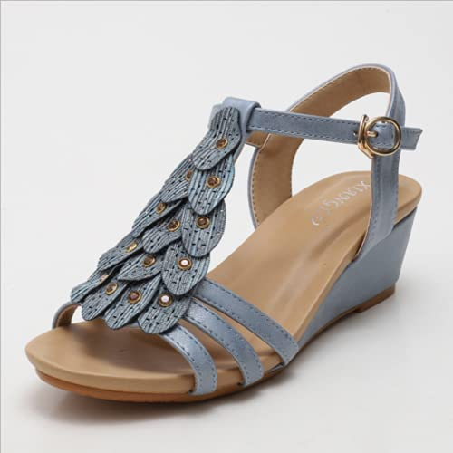 2021 Summer New Wedge Heel European And American all-Match Comfortable Casual Shoes Thick-Soled Buckle Female Sandals