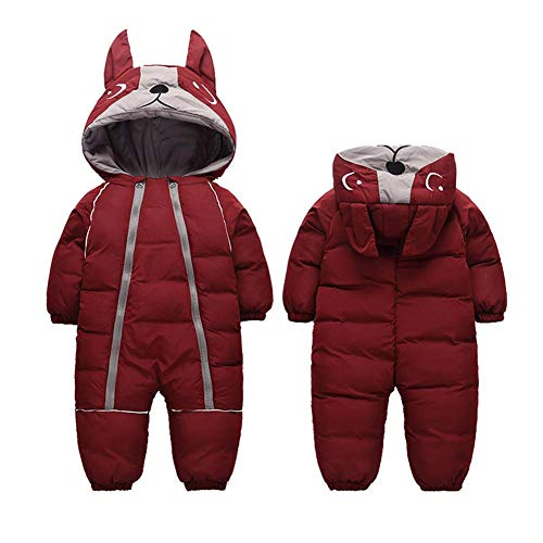 Bestgift Winter-Schneeanzug für Kleinkinder, warm, mit Kapuze, Unisex Gr. 98, weinrot