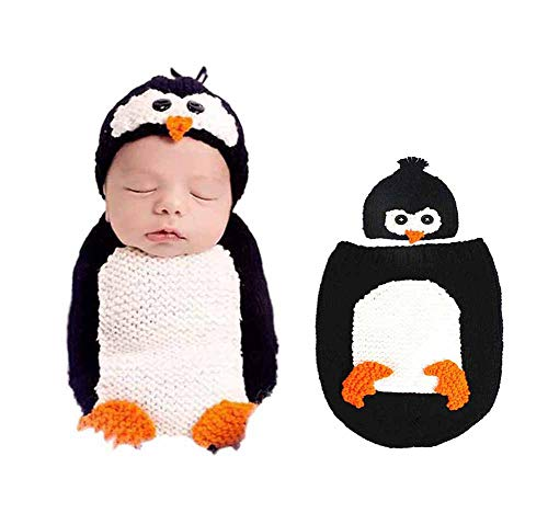 Carolilly Newborn Photo Shoot Outfit Infant Baby Photography Clothing Cotton Knitted Baby Santa Claus Penguin Costume Gift Sets for Baby - - 0-3 Months