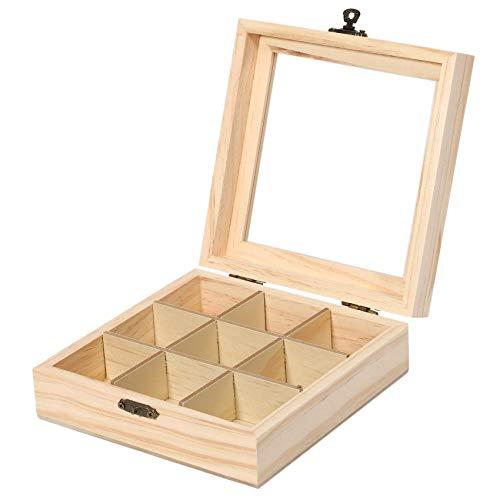 Sucute Caja de té de madera, 9 compartimentos, organizador para joyas, baúl, caja de almacenamiento, madera, azúcar, caja para paquetes, 15 x 15 x 5 cm
