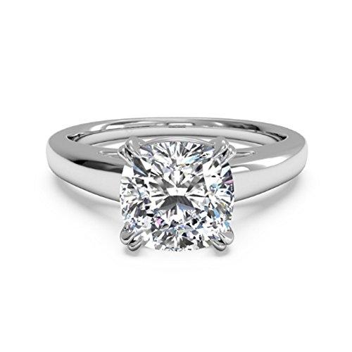 Anillo de compromiso con diamante moissanita de corte cojín de 2,00ct, oro blanco de 14 quilates, tamaño del 49 al 70