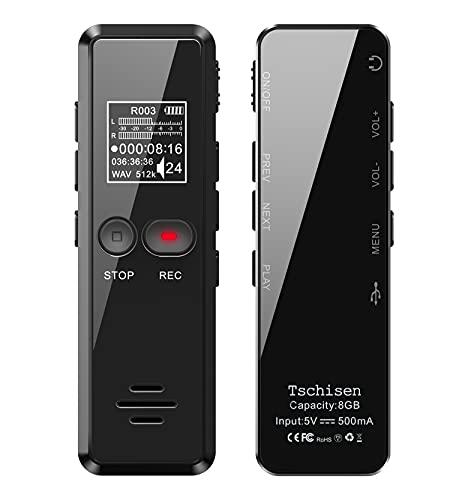 Digitales Diktiergerät, 8GB 1536kbps hohe Aufnahmequalität, Geräuschreduzierung, One-Touch-Aufnahme, Spracherkennung, MP3, Aufnahmegerät für Vortrag, Vorlesung, Interview, Meeting usw.