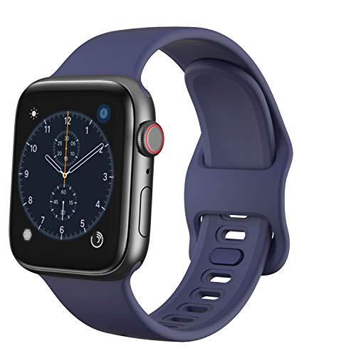 TopPerfekt - Cinturino di ricambio compatibile con Apple Watch Strap 42 mm 44 mm, in morbido silicone per iWatch Series 5 4 3 2 1 (blu marino, 42/44 mm)