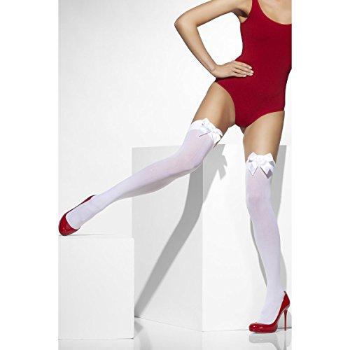 Nylonstrümpfe Kniestrümpfe Strümpfe weiß mit Schleife Gr. Standard Nylon Knie Strumpf Overknee Halterlos