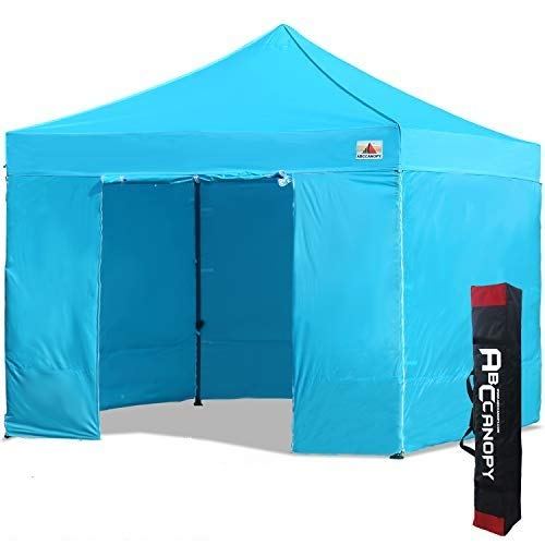 ABCCANOPY 3x3m Pop Up Gazebo Canopy Commercial Tents Market stall with 4 Removable Sidewalls and Carry Bag .(3x3,Sky Blue)