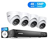ANNKE 5MP POE Security Camera System, 8CH Upgraded H.265+ 4K NVR, Color Night Vision, 4pcs IP67 5MP PoE IP Cam 2TB HDD, Used Indoors and Outdoors, Store More Video for Home Business Surveillance