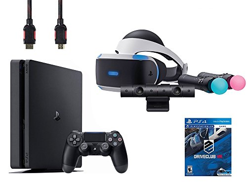 PlayStation VR Start Bundle 5 Items:VR Headset,Move Controller,PlayStation Camera Motion Sensor,Sony PS4 Slim 1TB Console - Jet Black and VR Game Disc PSVR DriveClub Uncharted 4