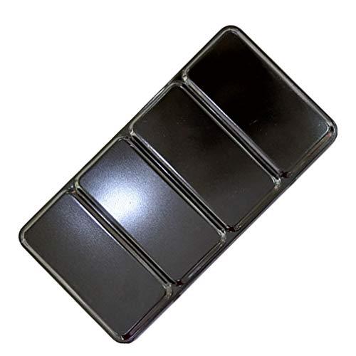 HEALLILY caja de pintura de paletas de latas de acuarela vacía 48 colores paleta de acuarela caja de almacenamiento de pigmento de hierro para manualidades de bricolaje(Sin cuadrícula pequeña)