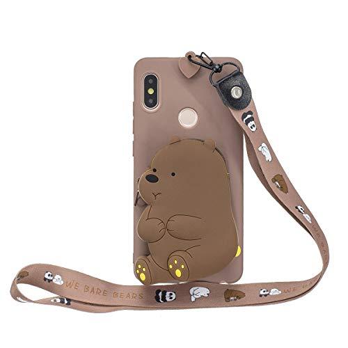 WOOHOO Silikonhülle für [Xiaomi Mi A2/Mi 6X] Grizzlybär (langes schlüsselband) 3D Cartoon mit Lanyard Mi A2/Mi 6X Hülle für Frauen & Kinder - Braun