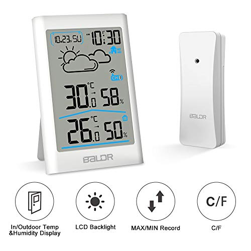 CestMall Digitales Thermometer Hygrometer Indoor Outdoor Wireless Sensor Feuchtigkeitsmesser mit Wecker/Uhr/Wettervorhersage/Touchscreen und Hintergrundbeleuchtung für Zuhause, Büro, Gewächshaus