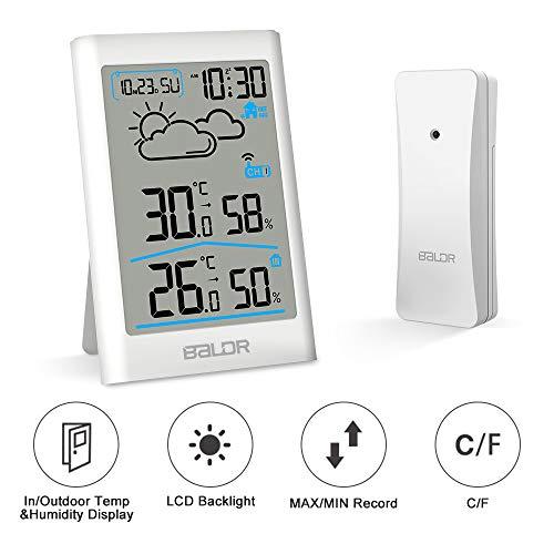 CestMall Digitales Thermometer Hygrometer Indoor Outdoor Wireless Sensor Feuchtigkeitsmesser mit Wecker/Uhr/Wettervorhersage/Touchscreen und Hintergrundbeleuchtung für Zuhause, Büro, Gewächshaus