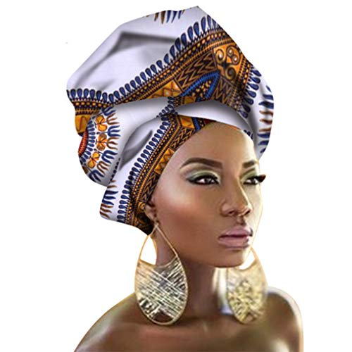 Chien TJ01 African Traditional Wax Print Head wrap Scarf Tie Headband (White)