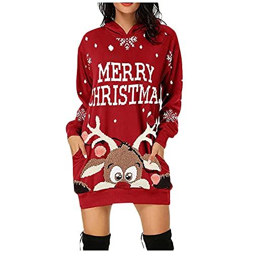 LIHAEI Robe Femme Hiver, Sweat à Capuche Femme Hoodie Casual Manches Longues Robe Sweat Shirt Impression de Noël Chic Automne Hiver Chaud Chic Ample Sweat-Shirt avec Poche Grande Taille