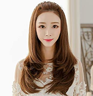Fashion lovely long involute level half wigs for ladies light brown B5029