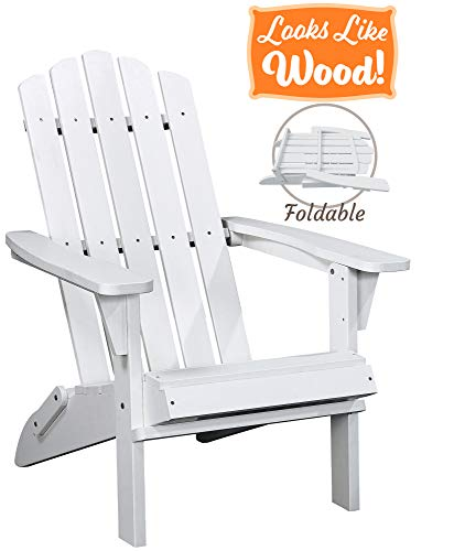 PolyTEAK Classic Folding Poly Adirondack Chair, Powder White | Adult-Size, Weather Resistant, Made...