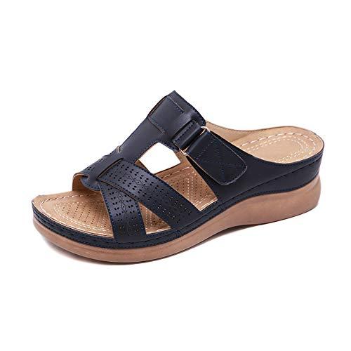 Gelentea Orthopädische Damen-Sandalen mit offenem Zehenbereich, Vintage-Stil, rutschfest, atmungsaktiv für den Sommer, Schwarz - Schwarz - Größe: 38 EU