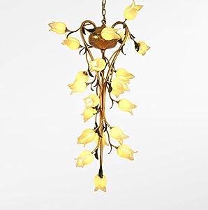 Lustre elegante de estilo floral con 21luces art décor (hojas Metal suspensión clásica forma de flores tulipa de cristal mano de dormitorio boutique blanco cálido 70* 118cm G9* 21