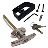 Shed Door T-Handle Lock Kit - Chrome - 5-1/2' Stem, Includes 2 Keys, 2 Screws, Square Bit, Allen Wrench, Shed Lock, Barn Door Lock, Playhouse Lock & Chicken Coop Lock (Chrome Finish)