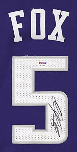 De'Aaron Fox Sacramento Kings Signed Autographed Purple #5 Jersey PSA/DNA COA