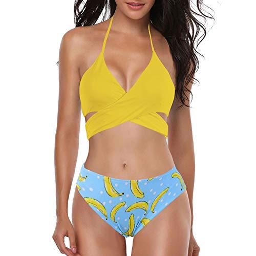 Badeanzug für Damen, massives Bikin, Damen, gepolstert, Neckholder, Schnürung, Ananas-Print, Strandanzug, Bikini - Blau - Medium