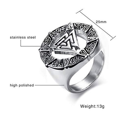 ERDING Unisex/Verlobungsring/Freundschaftsring/Alte Valknut Ringe für Männer Schmuck Vintage Edelstahl Männlichen Hrunger Herzsymbol Ringe Männlichen Schmuck