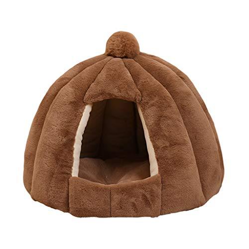 Baoblaze Novetly cabañas para Mascotas, Cama de Gato-Tienda Suave y Antideslizante para Mascotas Cave, almohadón para Dormir para Gatos y Cachorros, Lavable a - La luz Tan 48x40cm