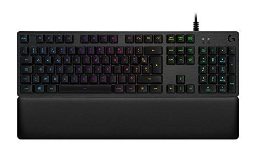 Logitech G513 Tastiera Gaming Meccanica Con Poggiapolsi, Tasti Retroilluminati LIGHTSYNC RGB, Switch Meccanici GX Blue, Alluminio Aeronautico, Personalizzabile, USB, Layout Francese AZERTY, Carbone