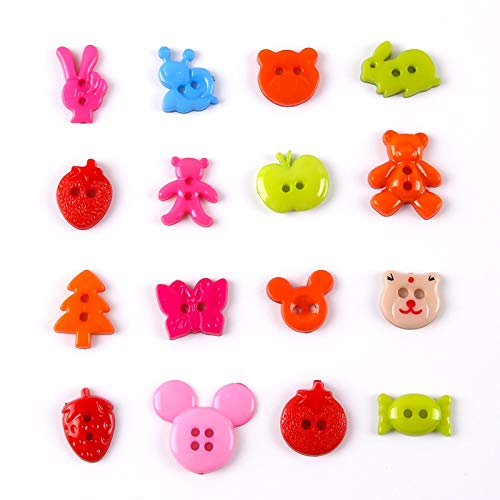 Children Buttons, 160 Pcs Craft Buttons Mixed DIY Creative Buttons Assorted Coloured Buttons Cartoon Buttons Plastic Buttons for Knitting Sewing Children DIY Crafting Ornaments, 16 Patterns
