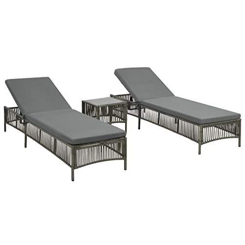 yorten Sonnenliege Set inkl. 2 Sonnenliegen + 1 Tisch + 2 x Sitzpolster Poly Rattan und Stahlrahmen Gartenliege mit Verstellbarer Rückenlehne Grau