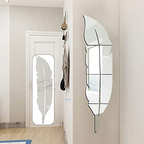 Sunsbell DIY Pegatinas de Pared con Espejo de Plumas, Espejo acrílico 3D de 18 * 73 cm para el Arte de la Sala de Estar, decoración del hogar, Mural, decoración de la Pared (Plata)