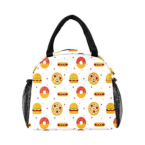 Linda bolsa de almuerzo para hamburguesas, pizzas, diseño de perro caliente, para mujer, con aislamiento, reutilizable, bolsa térmica para el trabajo, picnic