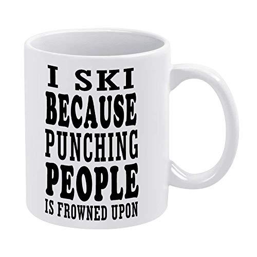 N\A Taza de café de 11 onzas, Tazas de cerámica Blanca con Cita inspiradora, esquío Porque Golpear a la Gente está Mal Visto por una Taza de té para la Oficina y el hogar