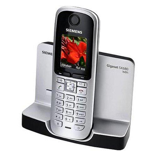 Siemens Gigaset SX680 ISDN schnurloses ISDN-Telefon mit beleuchtetem Farbdisplay, Bluetooth und HDSP, titanium