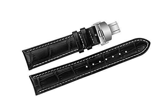 20mm di lusso nero cinturini in pelle di sostituzione/band alligatore fatti...