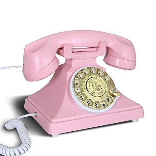 NYDZDM Teléfono Retro con teléfono Vintage, dial rotatorio Funcional y clásico, Estudio de Sala de Estar, decoración Retro y teléfono de la Oficina en casa - Rosa