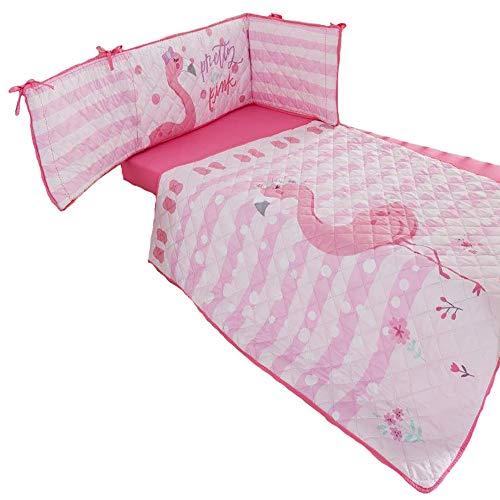 Babybettumrandung, Bettumrandung, 100 % Polyester-Baumwolle, Bettumrandung für Kinderbett, atmungsaktiv und leicht zu reinigen, Fiona-Flamingo Pink