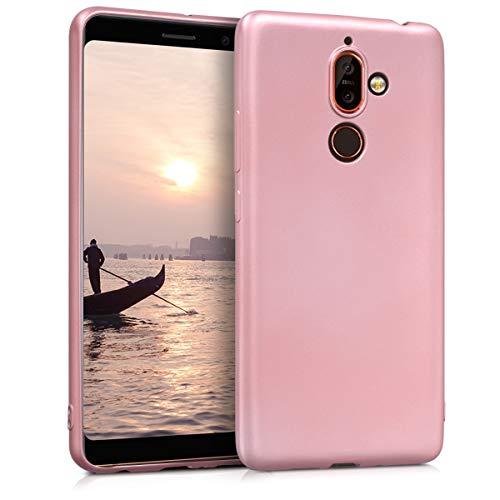 kwmobile Nokia 7 Plus Cover - Custodia per Nokia 7 Plus in Silicone TPU - Backcover Protezione Oro Rosa Metallizzato