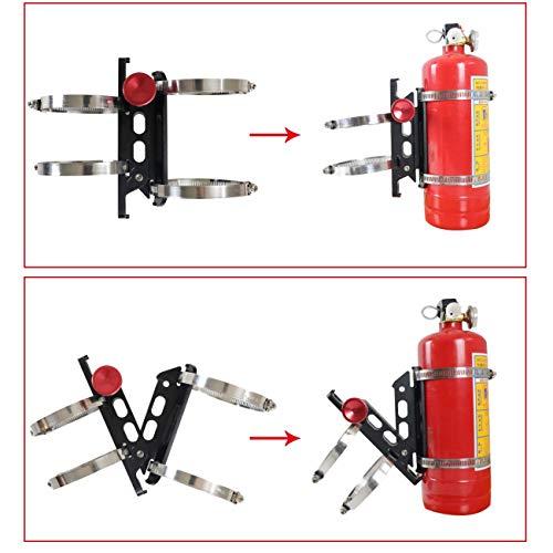 AUFER Quick Release Aluminum Adjustable Roll Bar Fire Extinguisher Mount Holder for Jeep Wrangler UTV Polaris RZR Ranger Camper Van with Pillar(Support 1-10Lb Extinguishers),8 Mounting Clamps