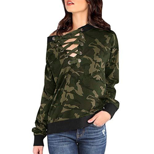 SALUCIA Damen Camouflage V Ausschnitt Sweatshirt Pullover Langarmshirt Oberteile Top mit Bandage